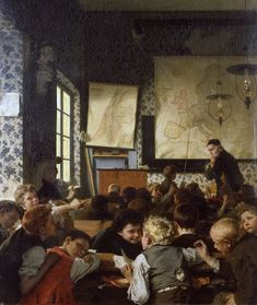 Carl Hertel - was a German painter. [Alte und Neue Nationalgalerie, Berlin - Oil on canvas] School Daze, Art School, Neo Rauch, Ludwig Meidner, Geography Lessons, Socialist Realism, Bulletins, Vintage School, Hippie Art