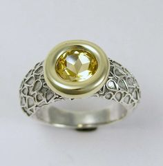 Sterling silver & gold, (yellow stone) citrine ring.