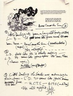 """George Harrison's handwritten lyrics to """"Here Comes The Sun.""""  Note the reference to """"son of Badge"""" in the middle part, a nod to the Cream song on which he played guitar!"""