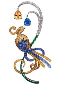 Brooch from the collection Oiseaux de Paradis. White gold, emeralds, diamonds, sapphires, garnets – Van Cleef and Arpels