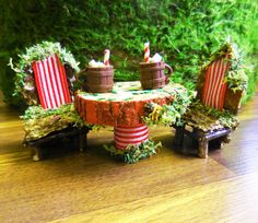 Fairy Table and Chair Set, Woodland Christmas Miniature Table w 2 Chairs, Hot Chocolate and 4 Red Mosaic Tiles, Handmade Set of 9