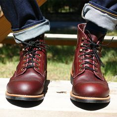 - Made in Minnesota - Style 8119 The local residents of the Mesabi Iron Range… Sock Shoes, Men's Shoes, Shoe Boots, Wing Shoes, Red Wing Iron Ranger, Red Wing Boots, Mens Boots Fashion, Handmade Leather Shoes, Vintage Boots