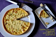 Chicken, green chiles, tomatoes and scamorza cheese quiche... easy and really tasty