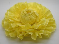 Large Sunny Yellow Ribbon Flower Millinery by ClytemnestrasCloset