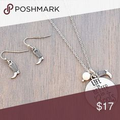 """Silvertone 'Life Is Better In Boots' Necklace Set 17"""" Long Necklace with 3"""" Extension Lobster Claw Closure Worn Goldtone 1"""" Diameter Pendant with Inscribed Message Boots and Faux Pearl Bead Charms 1"""" Long Fish Hook Style Earrings with 5/8"""" Drop Jewelry Necklaces"""