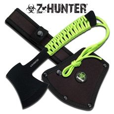 Measuring overall this Z-Hunter tomahawk axe has a thick black wrinkle finished blade. The black handle is wrapped in bright neon 'zombie green' cord and offers not only a superior gri.