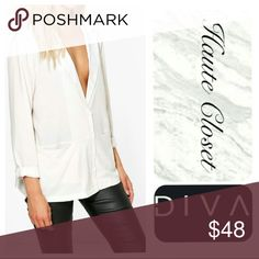 Blazer Blouse Beautiful stone blazer style blouse; effortlessly chic! Style also features sleek front pockets! V neck blazer flap style with collar; 3/4 length cuff sleeve. New arrival.   *Polyester blend *Measurements coming soon Tops Blouses
