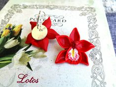 Elegant Earrings Red Pink White  Flower Orchid Pretty Gift for #LotosJewelryHandmade
