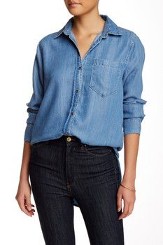 33e0d3b0448e Adrienne Vittadini Long Sleeve Button Down Chambray Blouse Chambray Top