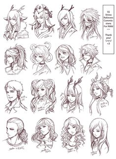 Inspiration: Hair & Expressions —-Manga Art Drawing Sketching Head Hairstyle—- by omocha-san on deviantART]]] Sketch Head, Hair Sketch, Hair Reference, Drawing Reference, Art Drawings Sketches, Cute Drawings, Drawing Poses, Drawing Tips, Art Fairy Tail