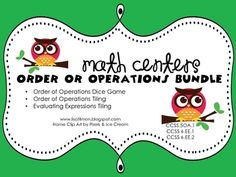 Common Core Standards: 5.OA.1, 6.EE.1, and 6.EE.2 {Order of Operations and Evaluating Expressions} $3.75