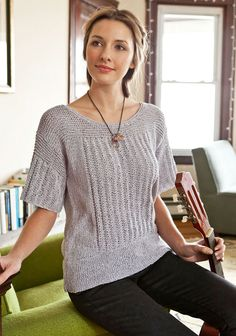 "A feminine and warm weather take on the traditional fisherman's gansey, Pern features easy slipped stitch rib, garter details, and a generous hem. Shown in size Small Sizes Directions are for women's size X-Small.  Changes for sizes Small, Medium, Large, 1X and 2X are in parentheses Finished Measurements Bust - 32(36-40-44-48-52)"" Length - 24(24-25-25-26-26½)"" with lower edge turned up Materials 9(10-12-13-15-16) Hanks Berroco Captiva (50 grs), #5510 Pale Amethyst"
