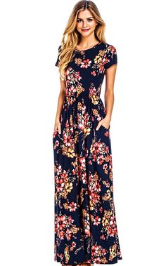 The Eva Navy Floral Maxi Dress is another customer fave! SUPER soft quality knit, navy background with stunning floral print and short sleeves. Perfect for wedd