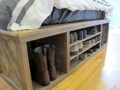 similar to Custom wood bed set with headboard. Maximized storage for shoes, books, clothing. on Etsy - DIY Pallet bed with Storage and Headboard Diy Storage Bed, Entryway Bench Storage, Storage Design, Bedroom Storage, Bed Frame Storage, Under Bed Shoe Storage, Storage Headboard, Headboard With Shelves, Platform Bed With Storage