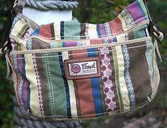 FOSSIL-BRAND-CANVAS-Multi-Stripe-Satchel-Boho-Handbag-Crossbody-Purse