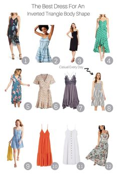 Inverted Triangle Outfits, Inverted Triangle Body, Triangle Body Shape, V Shape Body, Dress For Body Shape, Body Shapes, Outfits Dress, Women's Fashion Dresses, Cute Outfits