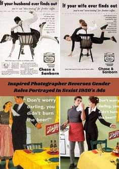 We've all seen what the ideal 1950's woman looks like - a perfect housewife who enjoys spending her days doing housework. #Inspired #Photographer #Gender #Sexist #1950sAds