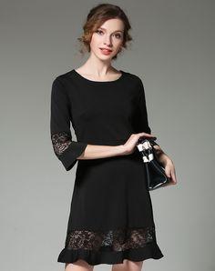 Black Cotton 3/4 Bell Sleeve Sheath Short Dress, Black, TangJie - VIPme