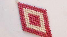 Learn how to make diamond shaped earrings using brickstitch pattern - YouTube
