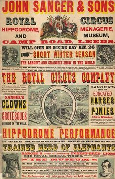 Vintage Circus Poster/ Flyer from the Leeds Playbill Archive Circo Vintage, Art Vintage, Vintage Type, Vintage Prints, Vintage Ephemera, Antique Prints, Vintage Designs, Vintage Circus Posters, Retro Poster