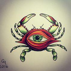 All Seeing Crab, st. Augustine, copic markers, sensei pens, art, arte, drawing, dibujo, tattoo, tatuaje, sketch