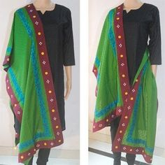 Simple, elegant, ethnic. All in one. Make your day or moment a beautiful memory with this green handpainted stole. You'll love it.
