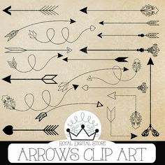 "Arrows Clip Art: "" ARROWS CLIP ART"" with arrows clipart, hand drawn arrows, digital arrow, arrow clipart for scrapbooking #paper #shabby"