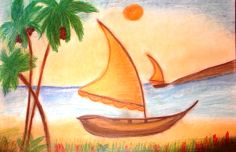 """Barco à vela"" Pintura a Pastel Seco e Lápis de Cor A3"