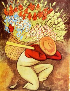 El Vendedor de Flores Paintings | Diego Rivera paintings