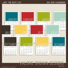 """Awesome freebie!!  free 3x4"""" 2012 calendars. Even if you aren't doing Project Life."""