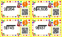 QR codes are all the rage, and they will have your students wanting to do long division! This title contains 12 self-checking center/task QR code cards, one recording sheet, and one 12-problem worksheet. $
