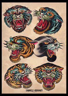 tiger panter traditional tattoo