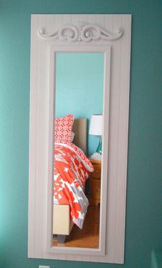 DIY:: Shabby White Upcycled Full Length Mirror - more ornate trim Mirror Makeover, Door Makeover, Cheap Doors, Bedroom Decor, Wall Decor, Bedroom Ideas, Master Bedroom Makeover, My New Room, Decoration