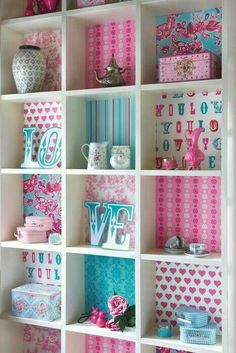 Love the shelves displaying decor and the lining of each shelf box