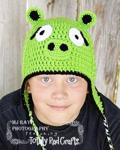 Green Angry Bird Pig Crochet Hat. This one is for you, Jenolyn!!!