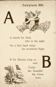 """Fairyland ABC - Father Tuck's """"Alphabet"""" Series, 1902. """"A for Ariel, B for Brionia"""""""