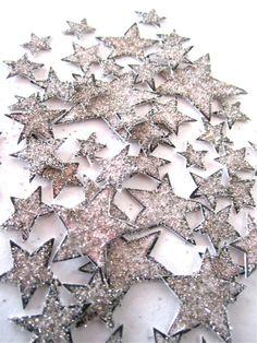 Art Deco Star Confetti - Set OF 58 -Tiny Hand Tinted, Hand Cut - Silver. $25.00, via Etsy.