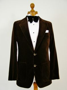 Brown velvet smoking jacket mens 37R | Tweedmans Vintage - Vintage Clothing