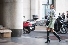 Knee-high boots and strong layering game are all you need to survive October.