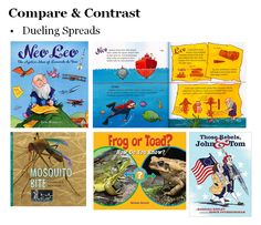 "Some children's books with a compare and contrast structure have one ""thread"" on the right-hand pages and a different ""thread"" on left-hand pages. Readers compare the two as they read each spread."