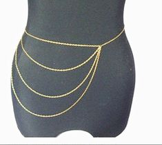Golden/Silvery Tassel Waist Belly Belt Body Chain Jewelry, Golden Slave Metal…