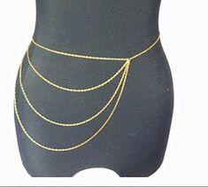 Golden/Silvery Tassel Waist Belly Belt Body Chain Jewelry, Golden Slave Metal…