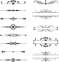 Set of vector text dividers. Each element is grouped for easy editing.Typographic Ornaments royalty-free typographic ornaments stock vector art & more images of black color Decorative Lines, Decorative Borders, Border Design, Tattoo Fonts, Free Vector Art, Vector Graphics, Doodle Art, Design Elements, How To Draw Hands