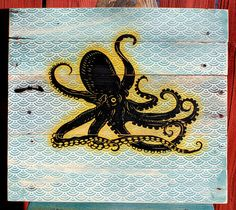 Octopus Pallet Wood Wall Art Upcycled by CryptobioticDesigns