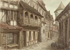 Is Your Medieval Profession? This image shows what the town houses would have looked like during this time period. For any scenes in the village, architecture similar to these buildings would be appropriate. Vila Medieval, Medieval Village, Medieval Houses, Medieval Life, Medieval Castle, Medieval Fantasy, Fantasy Town, Fantasy World, Dark Fantasy