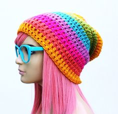 Amazing rainbow crochet beanie! From GlamourDamaged.etsy.com great winter accessory for a big pop of color!