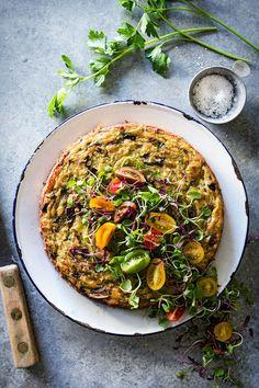 Crustless Roasted Cauliflower and Mushroom Quiche via Bakers Royale