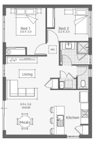 Tiny House Plans 749286456731344729 - Lancelin Granny Flat Floorplan Source by xrhoster Mini House Plans, Small House Floor Plans, House Layout Plans, House Layouts, 2 Bedroom Apartment Floor Plan, 2 Bedroom House Plans, Apartment Plans, Mini Chalet, Mother In Law Cottage