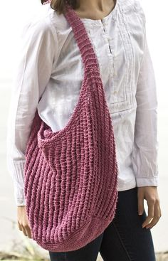 Free Knitting Pattern for 2 Row Repeat Beach Bag