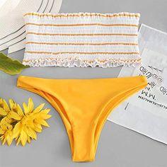 Women Striped Bandeau Shirred High Cut Cheeky Sexy Bikini - Yellow, S - Bra and Bikinis Sexy Bikini, Bandeau Bikini Set, Haut Bikini, The Bikini, Bikini Beach, Bikini Swimwear, Swim Suits Bikinis, Black Bandeau, Bikini Girls